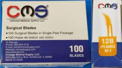 Surgical Dental Blades #12B Sterile Carbon Steel CMS -100 - Buy