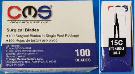 Surgical Dental Blades #15C Sterile Carbon Steel CMS -100 - Buy